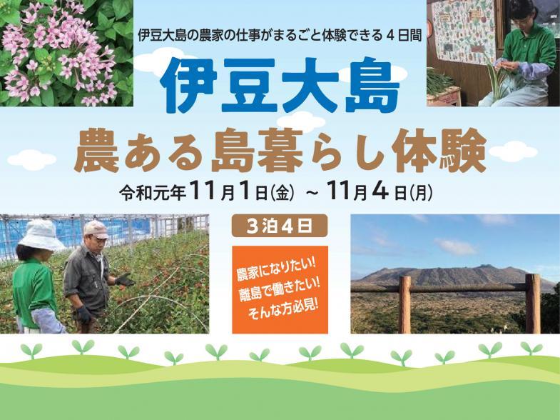 伊豆大島の農家の仕事がまるごと体験できる4日間 3泊4日の農業就業体験会を開催!  人々の花のある豊かな暮らしのために。 この自然豊かな伊豆大島で、あなたも花を育ててみませんか!
