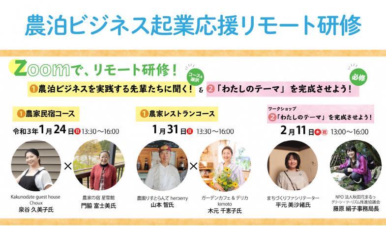 移住して農家民宿や農家レストランをやりたい! その夢、秋田で叶えませんか?オンラインで農泊ビジネス起業応援リモート研修を実施いたします!
